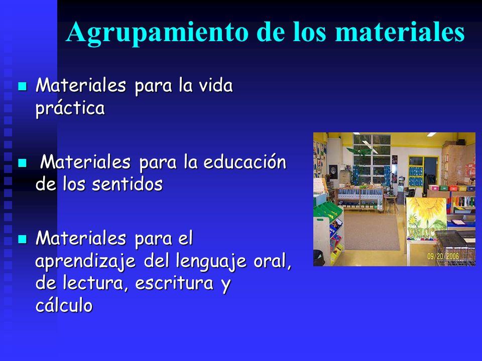 Agrupamiento de los materiales Materiales para la vida práctica Materiales para la vida práctica Materiales para la educación de los sentidos Material