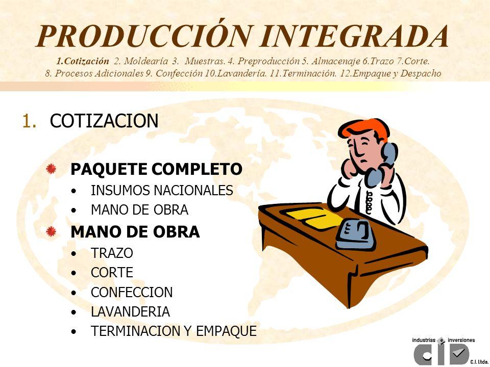 PRODUCCIÓN INTEGRADA 1.Cotización 2. Moldearía 3. Muestras. 4. Preproducción 5. Almacenaje 6.Trazo 7.Corte. 8. Procesos Adicionales 9. Confección 10.L