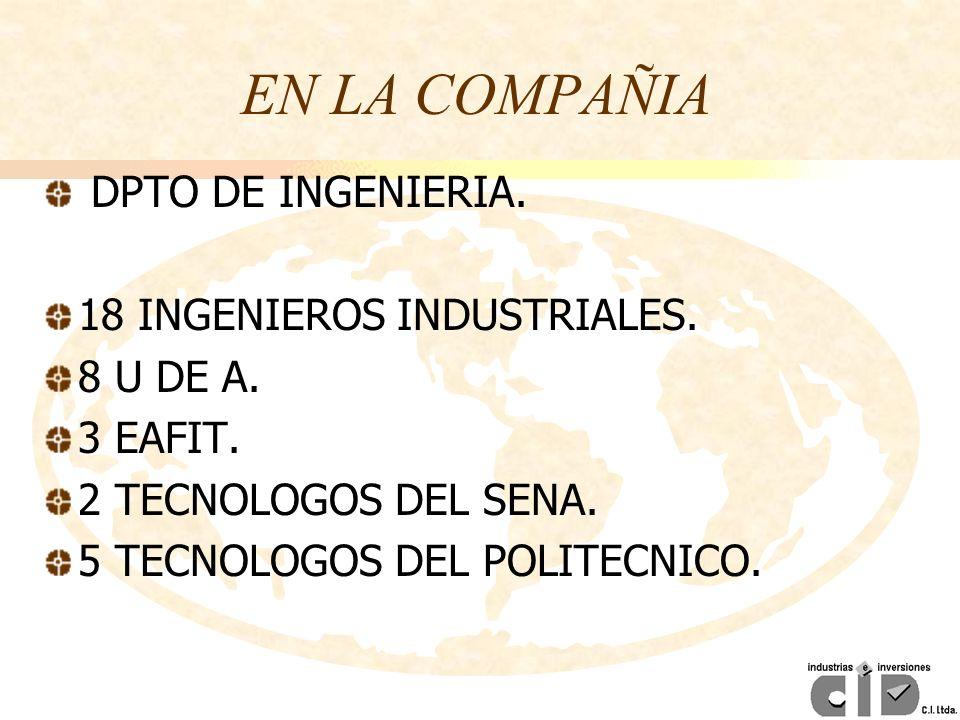 EN LA COMPAÑIA DPTO DE INGENIERIA. 18 INGENIEROS INDUSTRIALES. 8 U DE A. 3 EAFIT. 2 TECNOLOGOS DEL SENA. 5 TECNOLOGOS DEL POLITECNICO.