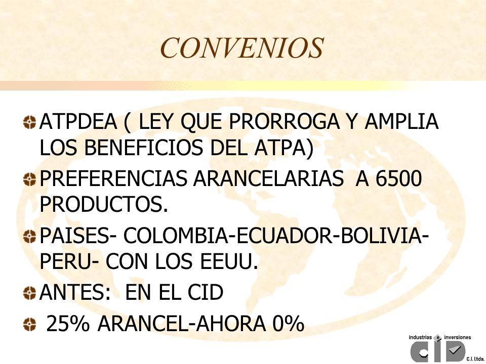 CONVENIOS ATPDEA ( LEY QUE PRORROGA Y AMPLIA LOS BENEFICIOS DEL ATPA) PREFERENCIAS ARANCELARIAS A 6500 PRODUCTOS. PAISES- COLOMBIA-ECUADOR-BOLIVIA- PE