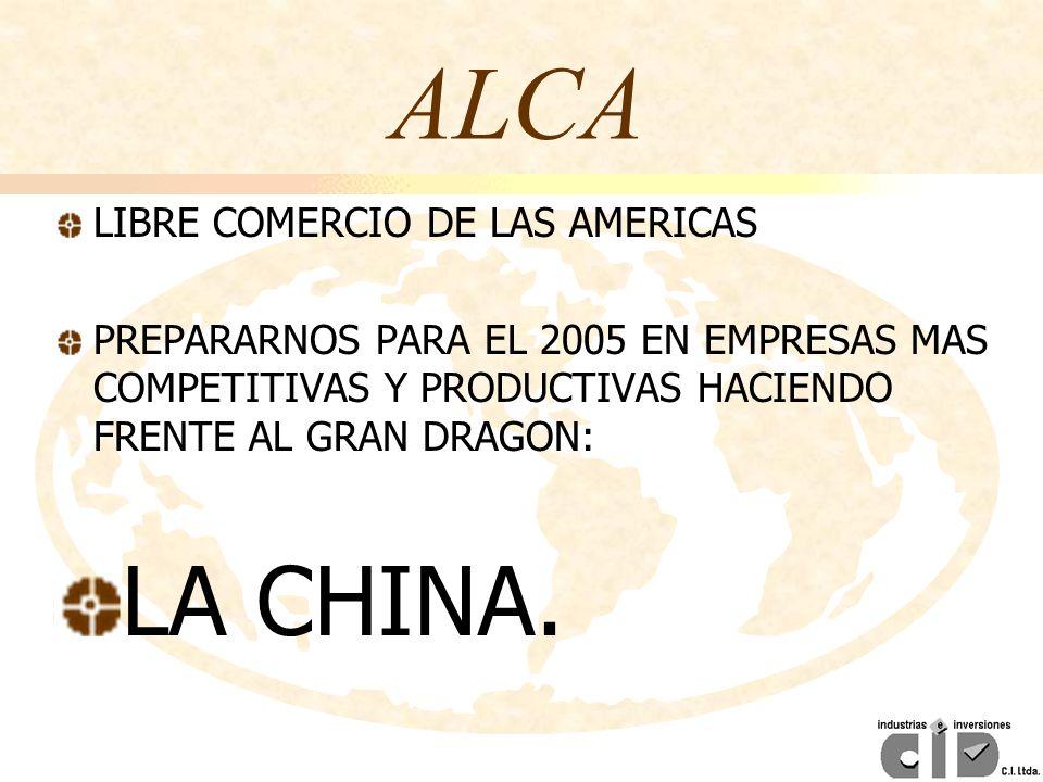 ALCA LIBRE COMERCIO DE LAS AMERICAS PREPARARNOS PARA EL 2005 EN EMPRESAS MAS COMPETITIVAS Y PRODUCTIVAS HACIENDO FRENTE AL GRAN DRAGON: LA CHINA.
