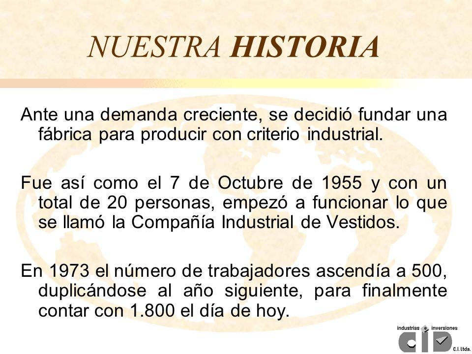 NUESTRA HISTORIA Ante una demanda creciente, se decidió fundar una fábrica para producir con criterio industrial. Fue así como el 7 de Octubre de 1955