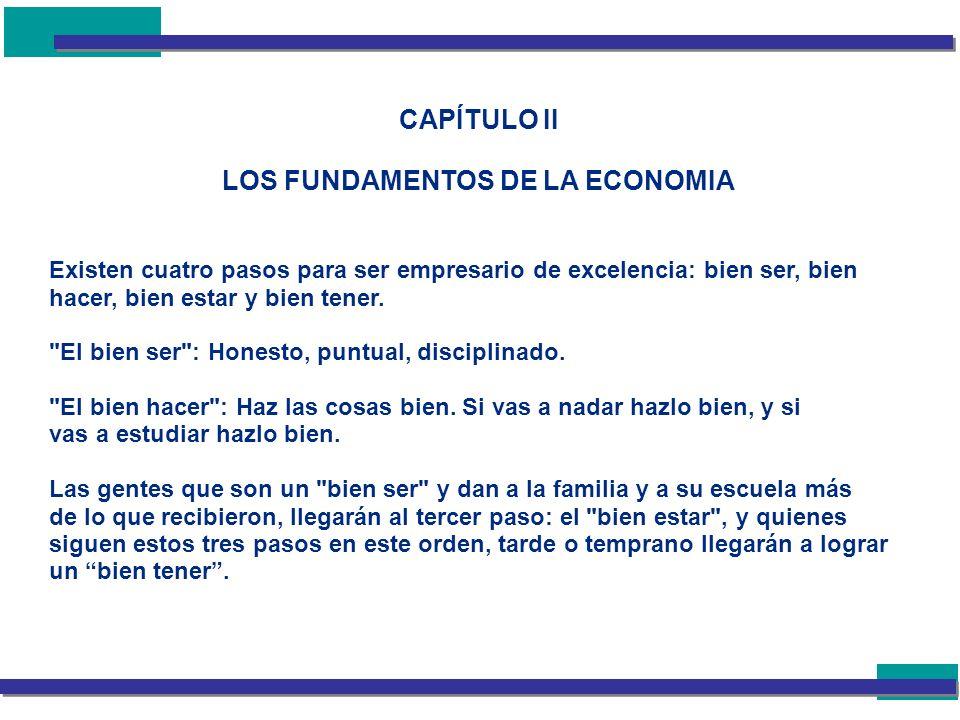 CAPÍTULO II LOS FUNDAMENTOS DE LA ECONOMIA Existen cuatro pasos para ser empresario de excelencia: bien ser, bien hacer, bien estar y bien tener.