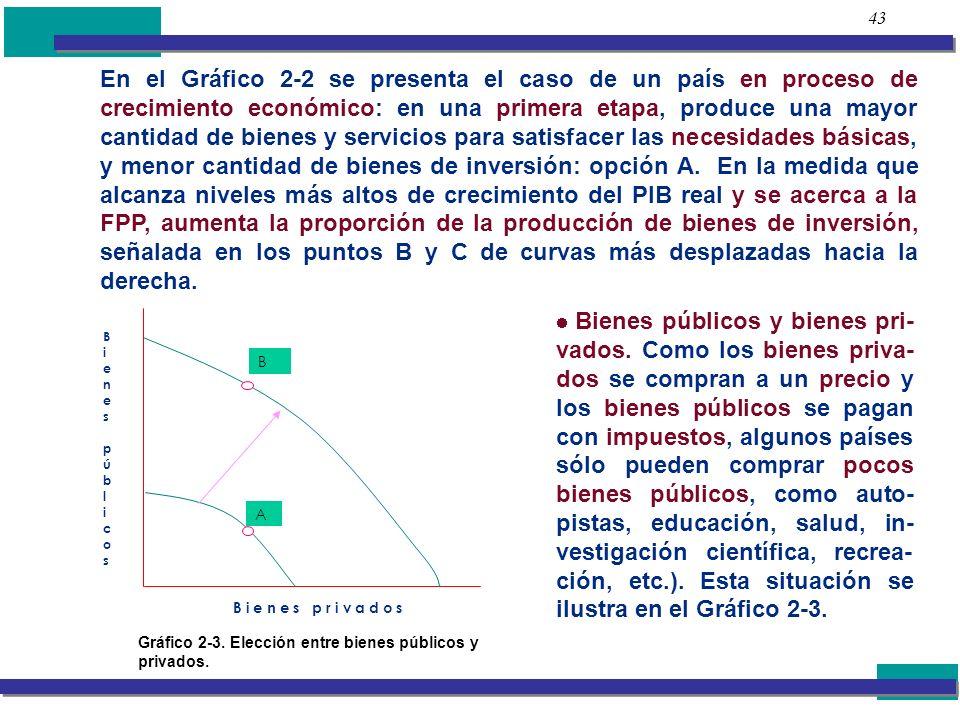43 En el Gráfico 2-2 se presenta el caso de un país en proceso de crecimiento económico: en una primera etapa, produce una mayor cantidad de bienes y