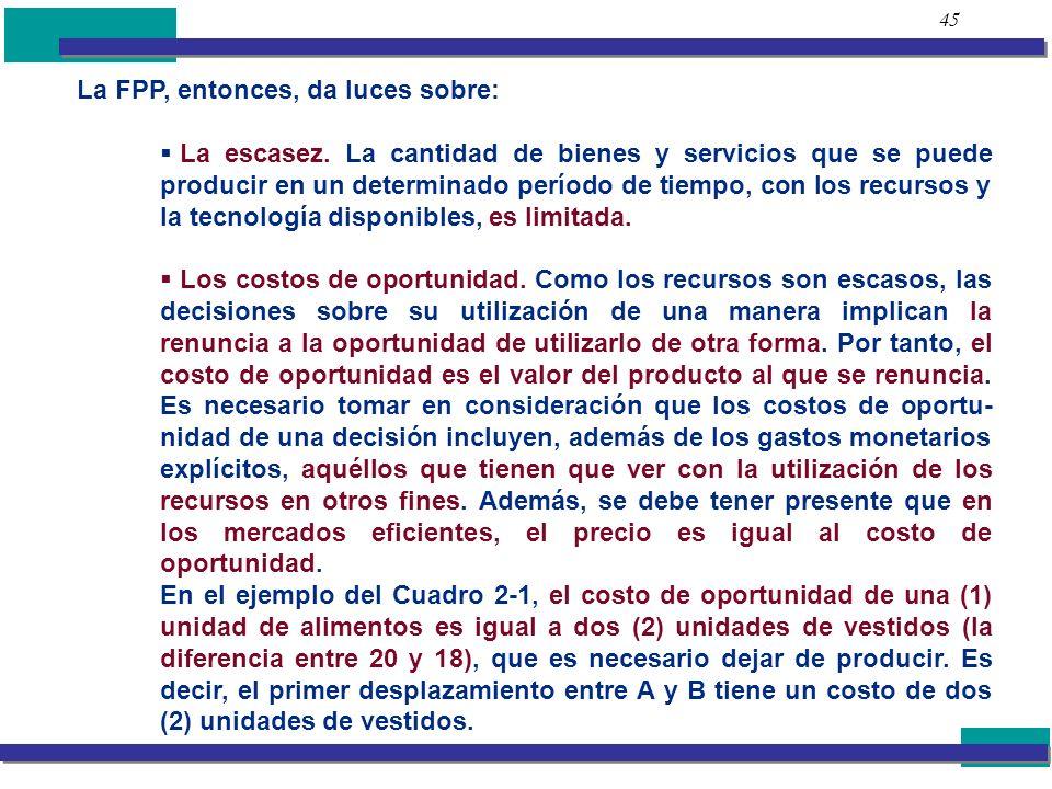 45 La FPP, entonces, da luces sobre: La escasez. La cantidad de bienes y servicios que se puede producir en un determinado período de tiempo, con los