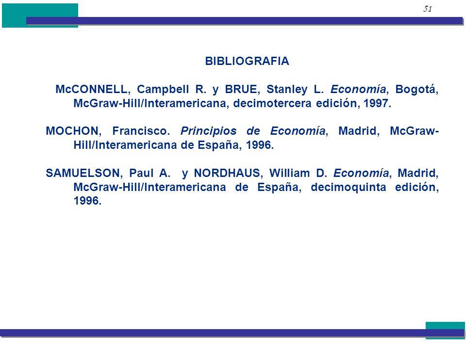 51 BIBLIOGRAFIA McCONNELL, Campbell R. y BRUE, Stanley L. Economía, Bogotá, McGraw-Hill/Interamericana, decimotercera edición, 1997. MOCHON, Francisco