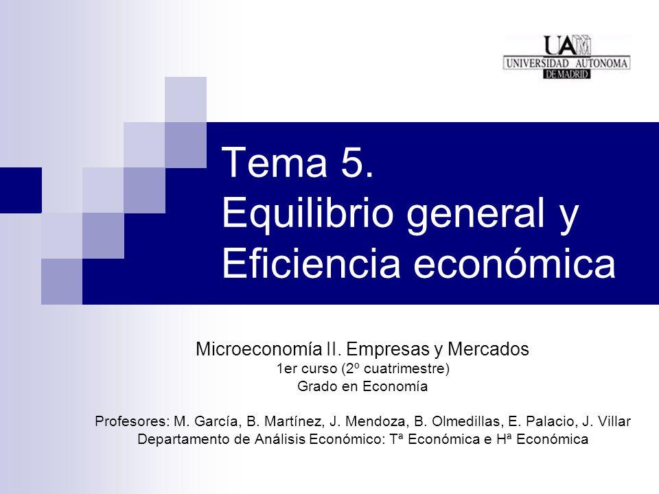 Tema 5. Equilibrio general y Eficiencia económica Microeconomía II. Empresas y Mercados 1er curso (2º cuatrimestre) Grado en Economía Profesores: M. G