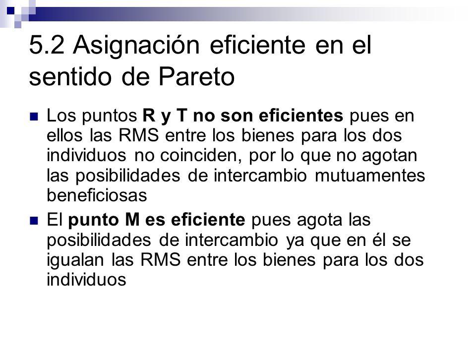 5.2 Asignación eficiente en el sentido de Pareto Los puntos R y T no son eficientes pues en ellos las RMS entre los bienes para los dos individuos no