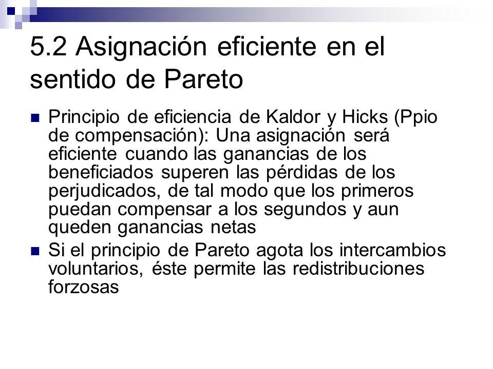 5.2 Asignación eficiente en el sentido de Pareto Principio de eficiencia de Kaldor y Hicks (Ppio de compensación): Una asignación será eficiente cuand
