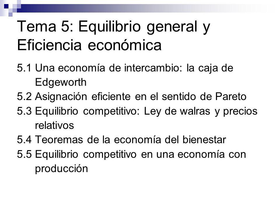 Tema 5: Equilibrio general y Eficiencia económica 5.1 Una economía de intercambio: la caja de Edgeworth 5.2 Asignación eficiente en el sentido de Pare