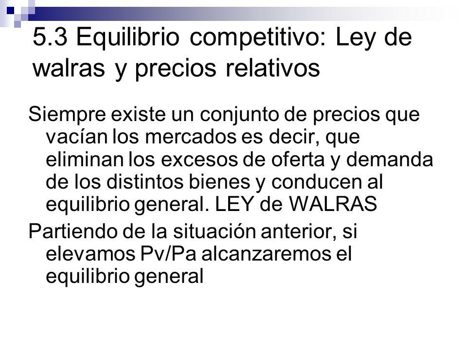 5.3 Equilibrio competitivo: Ley de walras y precios relativos Siempre existe un conjunto de precios que vacían los mercados es decir, que eliminan los