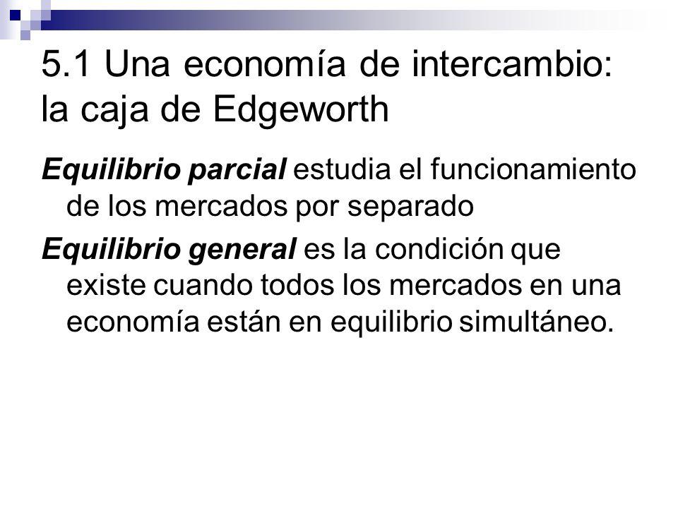 5.1 Una economía de intercambio: la caja de Edgeworth Equilibrio parcial estudia el funcionamiento de los mercados por separado Equilibrio general es