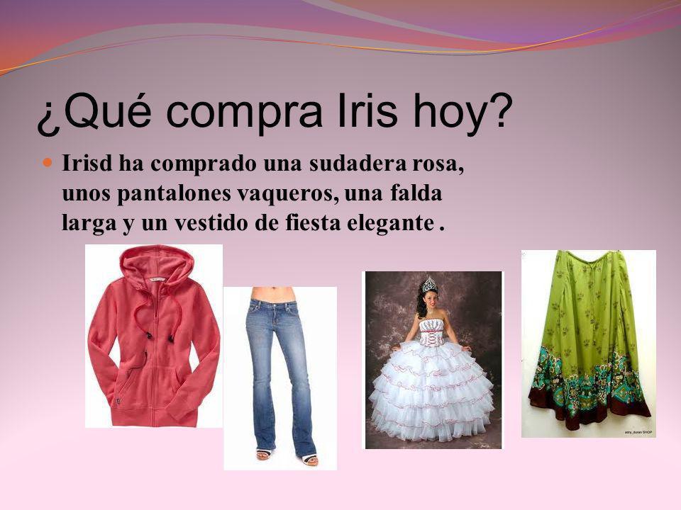 ¿Qué compra Iris hoy? Irisd ha comprado una sudadera rosa, unos pantalones vaqueros, una falda larga y un vestido de fiesta elegante.