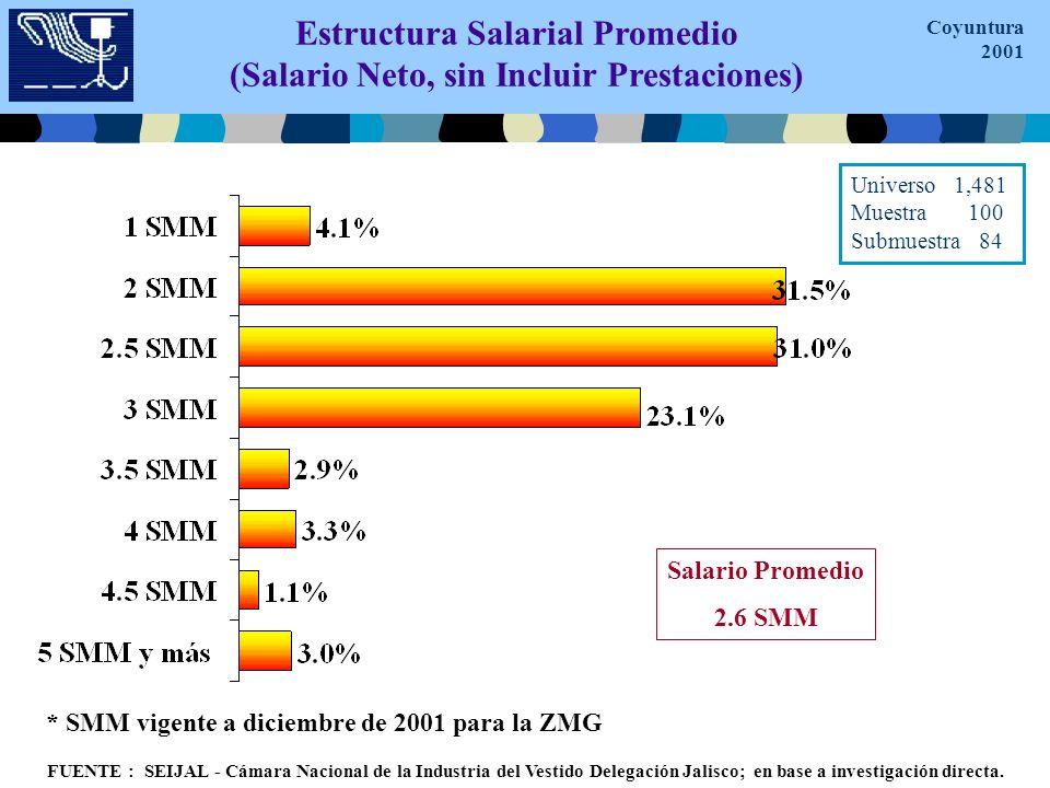 Estructura Salarial Promedio (Salario Neto, sin Incluir Prestaciones) * SMM vigente a diciembre de 2001 para la ZMG Salario Promedio 2.6 SMM FUENTE : SEIJAL - Cámara Nacional de la Industria del Vestido Delegación Jalisco; en base a investigación directa.