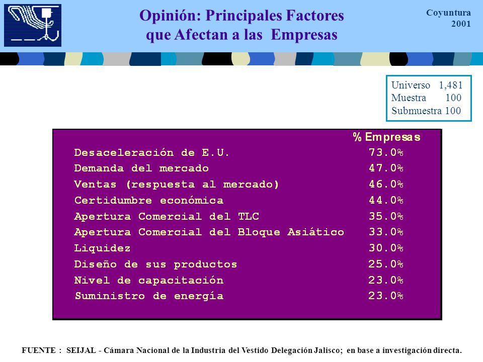 Opinión: Principales Factores que NO Afectan a las Empresas FUENTE : SEIJAL - Cámara Nacional de la Industria del Vestido Delegación Jalisco; en base a investigación directa.