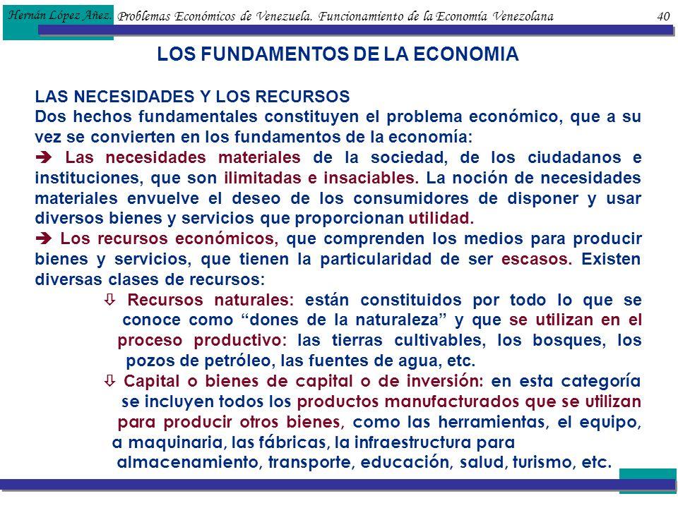 Problemas Económicos de Venezuela. Funcionamiento de la Economía Venezolana 40 Hernán López Añez. LOS FUNDAMENTOS DE LA ECONOMIA LAS NECESIDADES Y LOS
