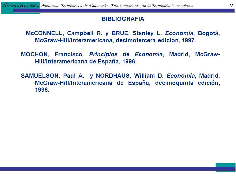 Problemas Económicos de Venezuela. Funcionamiento de la Economía Venezolana 57 Hernán López Añez. BIBLIOGRAFIA McCONNELL, Campbell R. y BRUE, Stanley
