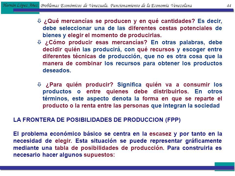 Problemas Económicos de Venezuela. Funcionamiento de la Economía Venezolana 44 Hernán López Añez. ¿Qué mercancías se producen y en qué cantidades? Es