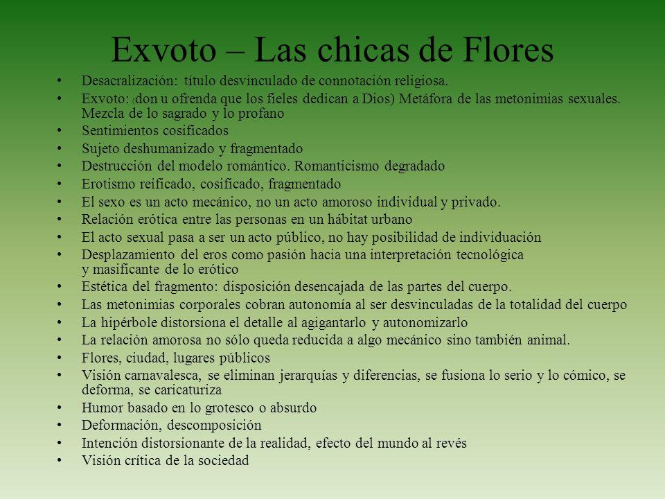 Exvoto – Las chicas de Flores Desacralización: título desvinculado de connotación religiosa. Exvoto: ( don u ofrenda que los fieles dedican a Dios) Me