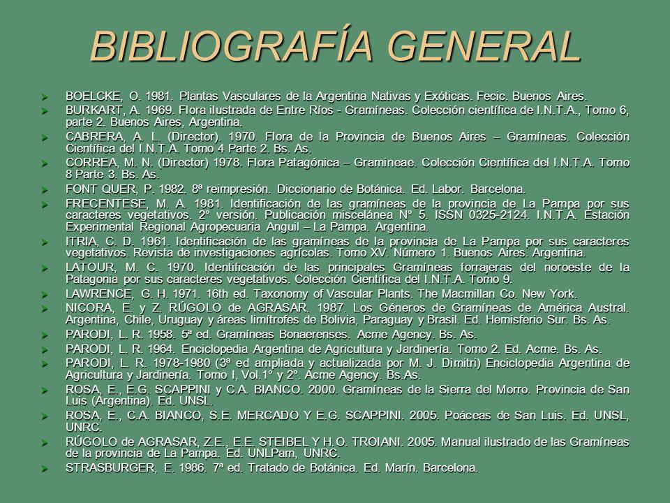 BIBLIOGRAFÍA GENERAL BOELCKE, O. 1981. Plantas Vasculares de la Argentina Nativas y Exóticas. Fecic. Buenos Aires. BOELCKE, O. 1981. Plantas Vasculare