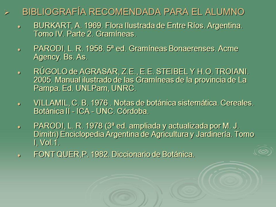 BIBLIOGRAFÍA RECOMENDADA PARA EL ALUMNO BIBLIOGRAFÍA RECOMENDADA PARA EL ALUMNO BURKART, A. 1969. Flora Ilustrada de Entre Ríos. Argentina. Tomo IV. P