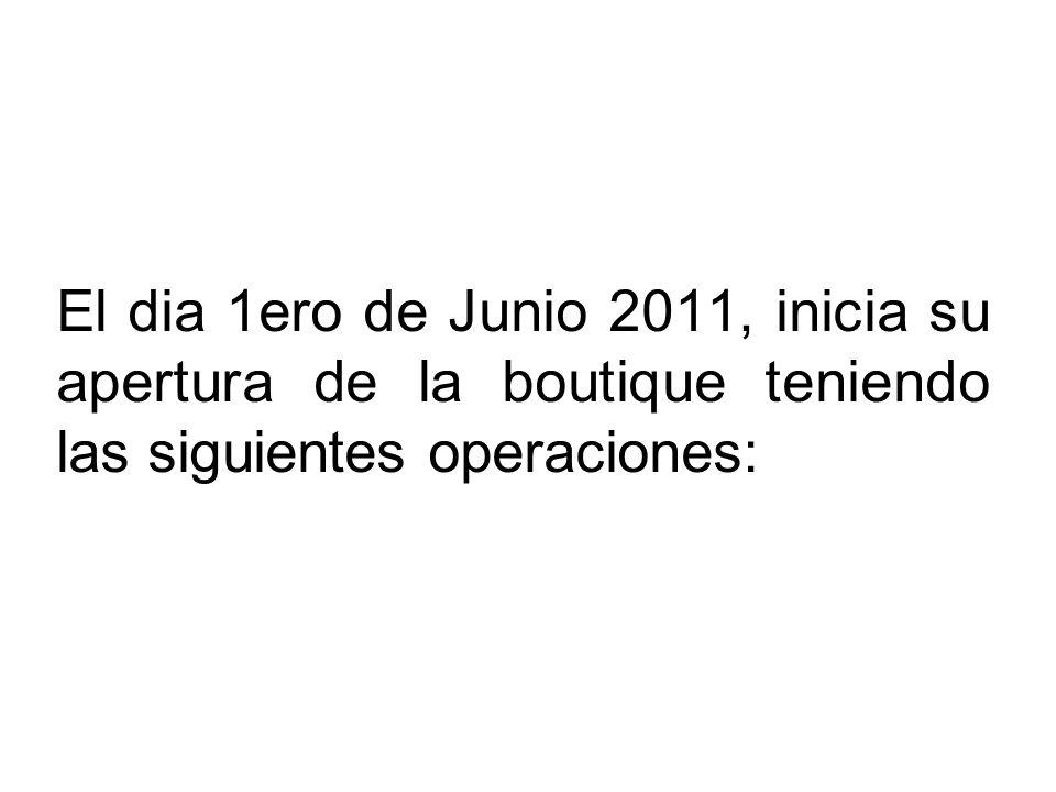 El dia 1ero de Junio 2011, inicia su apertura de la boutique teniendo las siguientes operaciones: