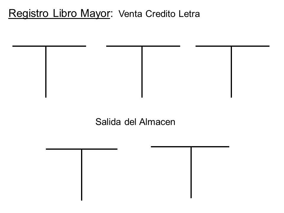 Registro Libro Mayor: Venta Credito Letra Salida del Almacen