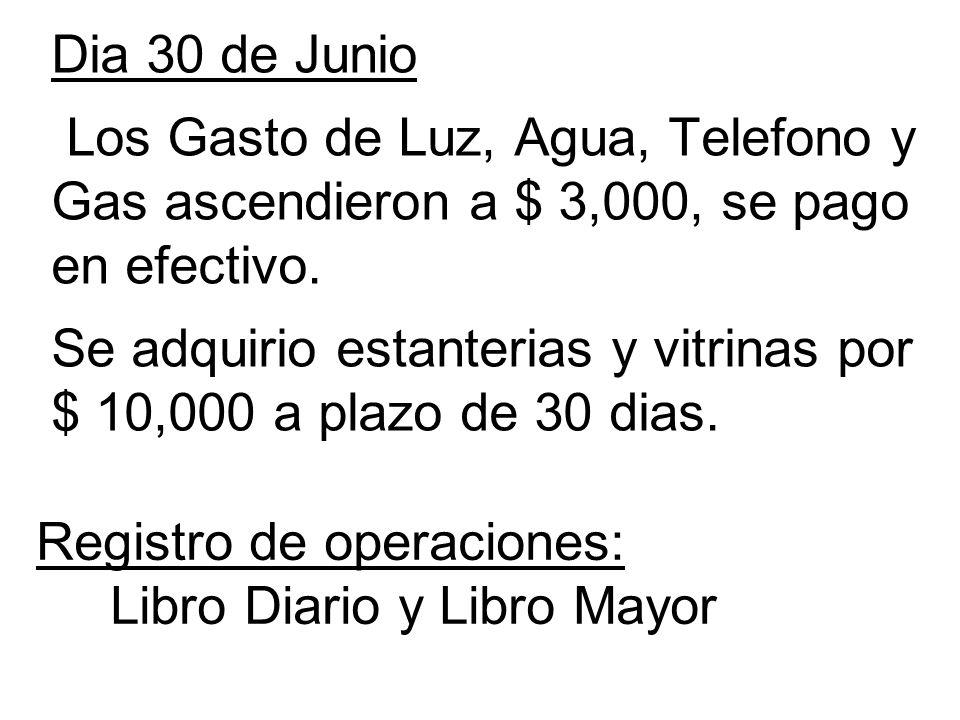 Dia 30 de Junio Los Gasto de Luz, Agua, Telefono y Gas ascendieron a $ 3,000, se pago en efectivo. Se adquirio estanterias y vitrinas por $ 10,000 a p