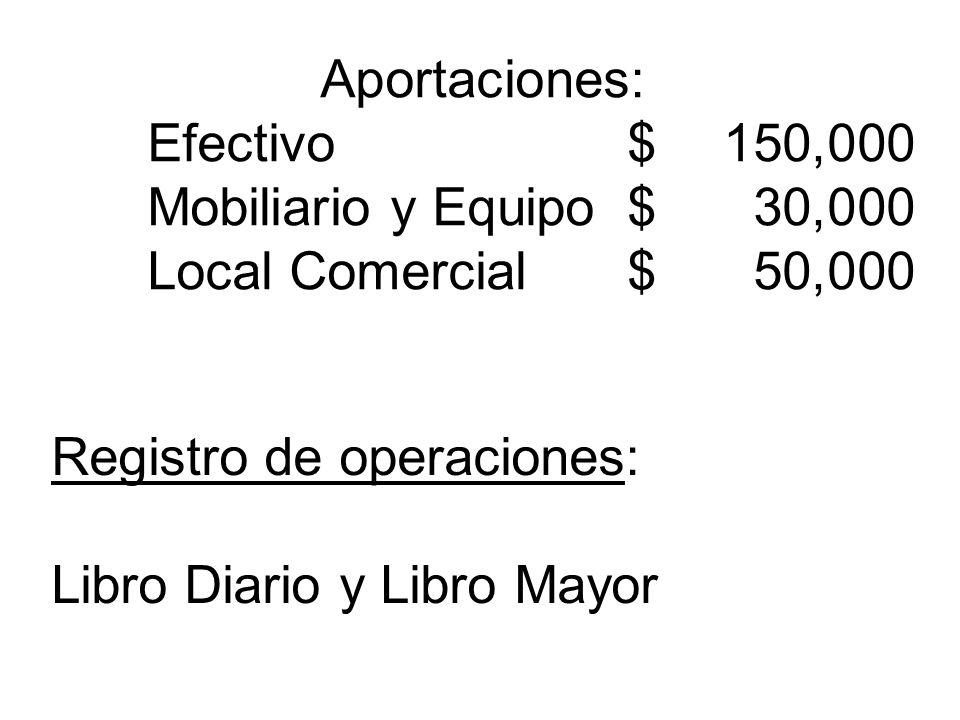Aportaciones: Efectivo$ 150,000 Mobiliario y Equipo$ 30,000 Local Comercial$ 50,000 Registro de operaciones: Libro Diario y Libro Mayor