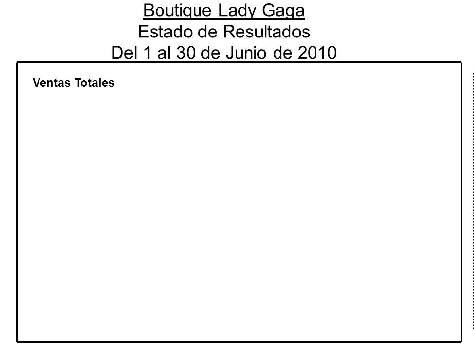 Boutique Lady Gaga Estado de Resultados Del 1 al 30 de Junio de 2010 Ventas Totales