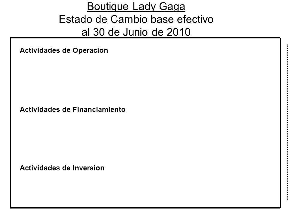 Boutique Lady Gaga Estado de Cambio base efectivo al 30 de Junio de 2010 Actividades de Operacion Actividades de Financiamiento Actividades de Inversi