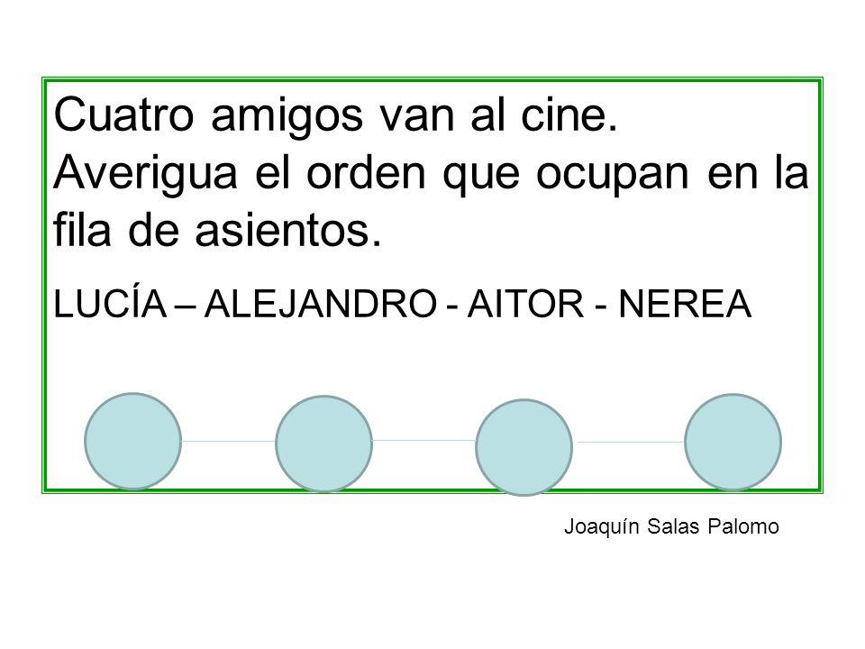 Cuatro amigos van al cine. Averigua el orden que ocupan en la fila de asientos. LUCÍA – ALEJANDRO - AITOR - NEREA Joaquín Salas Palomo