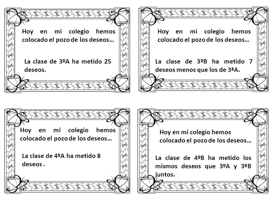 Hoy en mi colegio hemos colocado el pozo de los deseos… La clase de 3ºA ha metido 25 deseos. Hoy en mi colegio hemos colocado el pozo de los deseos… L
