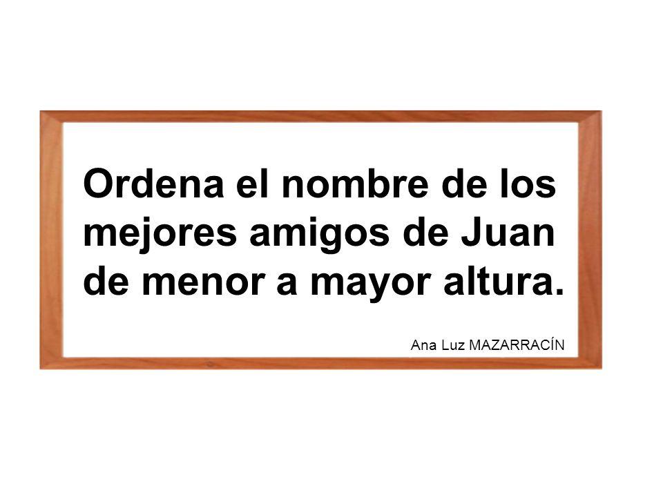 Ordena el nombre de los mejores amigos de Juan de menor a mayor altura. Ana Luz MAZARRACÍN