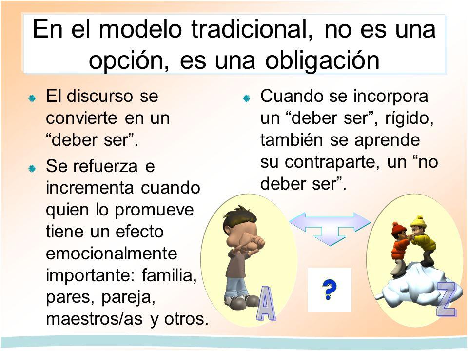 En el modelo tradicional, no es una opción, es una obligación El discurso se convierte en un deber ser. Se refuerza e incrementa cuando quien lo promu