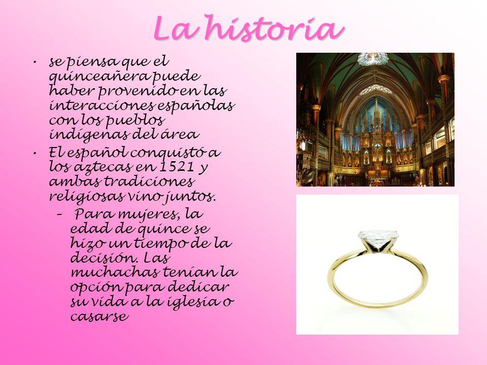 La historia se piensa que el quinceañera puede haber provenido en las interacciones españolas con los pueblos indígenas del área El español conquistó