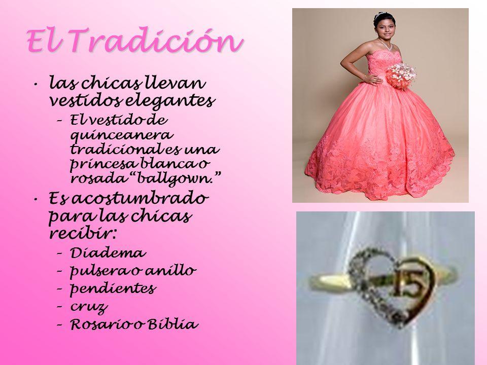 El Tradición las chicas llevan vestidos elegantes –E–El vestido de quinceanera tradicional es una princesa blanca o rosada ballgown. Es acostumbrado p