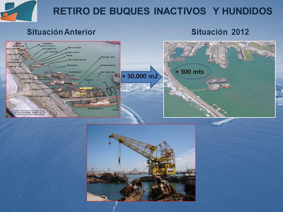 Situación Anterior RETIRO DE BUQUES INACTIVOS Y HUNDIDOS Situación 2012 + 30.000 m2 + 300 mts