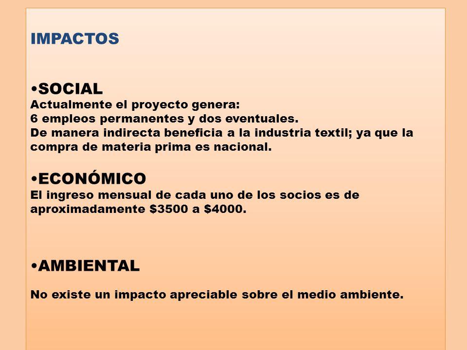 IMPACTOS SOCIAL Actualmente el proyecto genera: 6 empleos permanentes y dos eventuales. De manera indirecta beneficia a la industria textil; ya que la