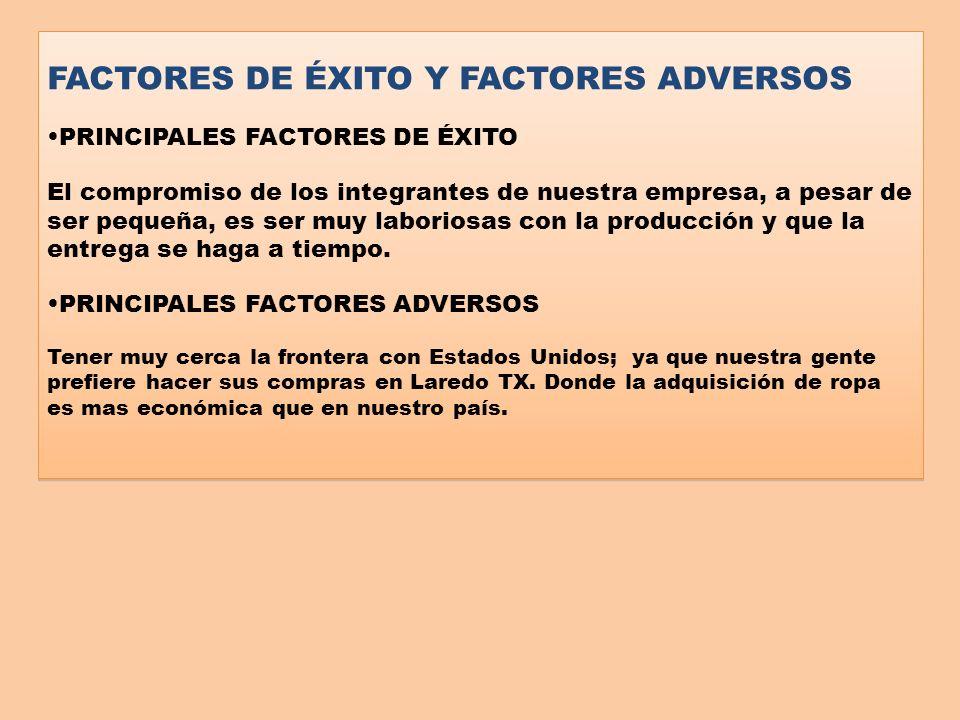 FACTORES DE ÉXITO Y FACTORES ADVERSOS PRINCIPALES FACTORES DE ÉXITO El compromiso de los integrantes de nuestra empresa, a pesar de ser pequeña, es se
