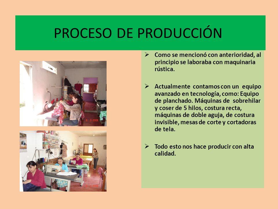 PROCESO DE PRODUCCION 1.-DISEÑO Y PATRÓN 2.-CORTE 3.-CONFECCIÓN 4.-ETIQUETADO 5.-PLANCHADO 6.-EMPAQUETADO 7.-VENTA AL PÚBLICO
