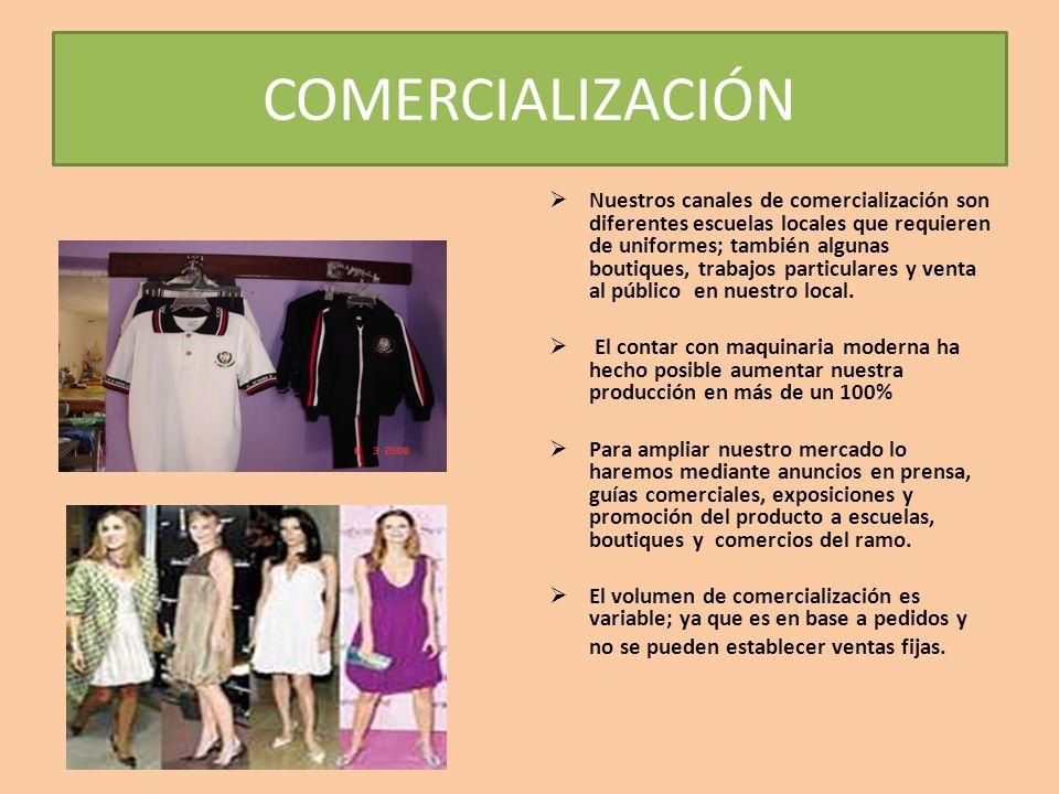 COMERCIALIZACIÓN Nuestros canales de comercialización son diferentes escuelas locales que requieren de uniformes; también algunas boutiques, trabajos