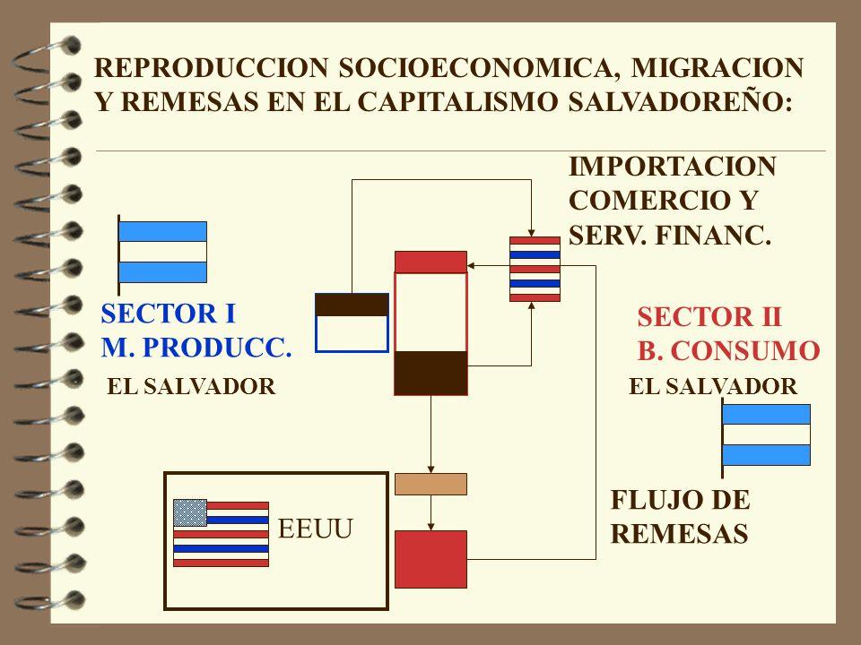 SECTOR I M. PRODUCC. SECTOR II B. CONSUMO EEUU FLUJO DE REMESAS IMPORTACION COMERCIO Y SERV.