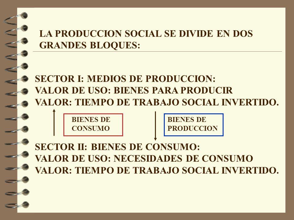 LA PRODUCCION SOCIAL SE DIVIDE EN DOS GRANDES BLOQUES: SECTOR I: MEDIOS DE PRODUCCION: VALOR DE USO: BIENES PARA PRODUCIR VALOR: TIEMPO DE TRABAJO SOCIAL INVERTIDO.