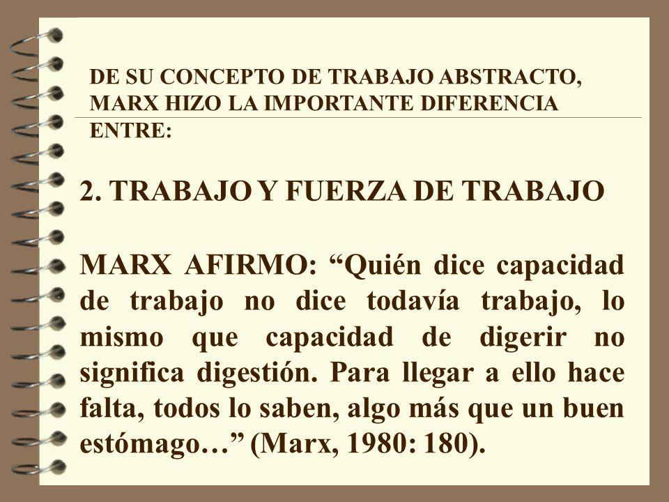 DE SU CONCEPTO DE TRABAJO ABSTRACTO, MARX HIZO LA IMPORTANTE DIFERENCIA ENTRE: 2.
