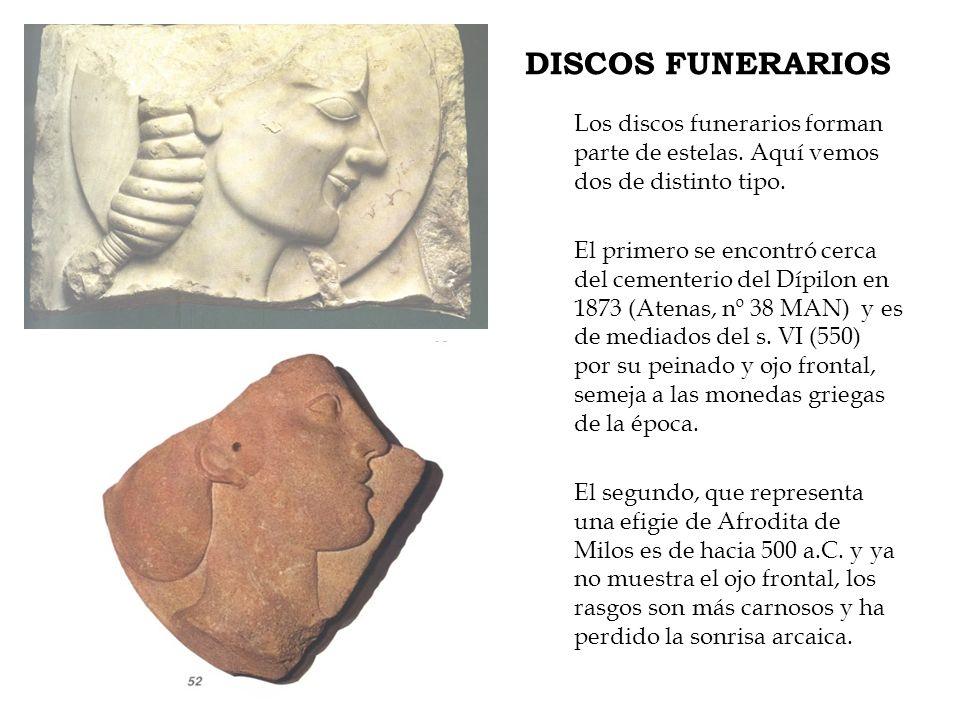 DISCOS FUNERARIOS Los discos funerarios forman parte de estelas. Aquí vemos dos de distinto tipo. El primero se encontró cerca del cementerio del Dípi
