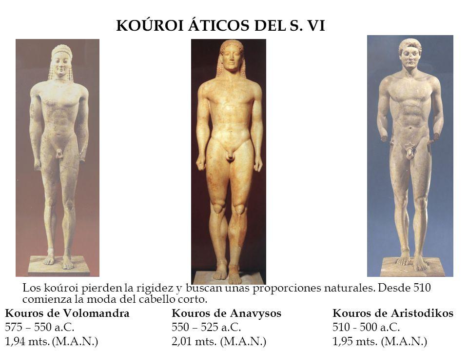 KOÚROI ÁTICOS DEL S. VI Los koúroi pierden la rigidez y buscan unas proporciones naturales. Desde 510 comienza la moda del cabello corto. Kouros de Vo