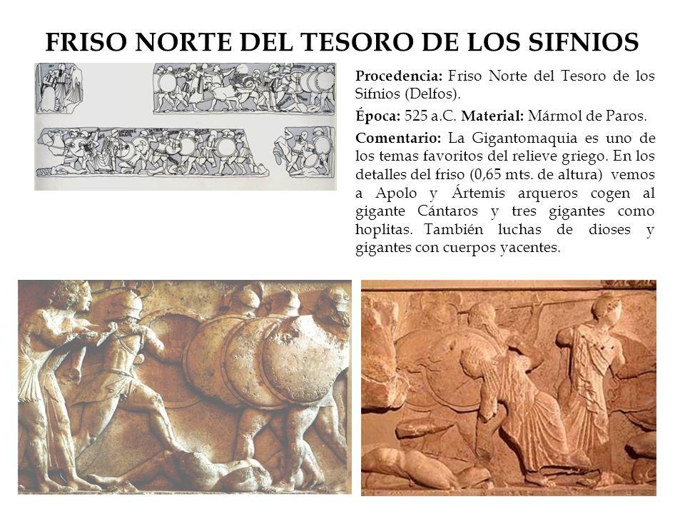 FRISO NORTE DEL TESORO DE LOS SIFNIOS Procedencia: Friso Norte del Tesoro de los Sifnios (Delfos). Época: 525 a.C. Material: Mármol de Paros. Comentar