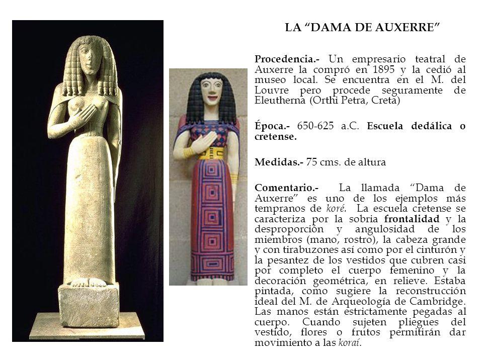 LA DAMA DE AUXERRE Procedencia.- Un empresario teatral de Auxerre la compró en 1895 y la cedió al museo local. Se encuentra en el M. del Louvre pero p