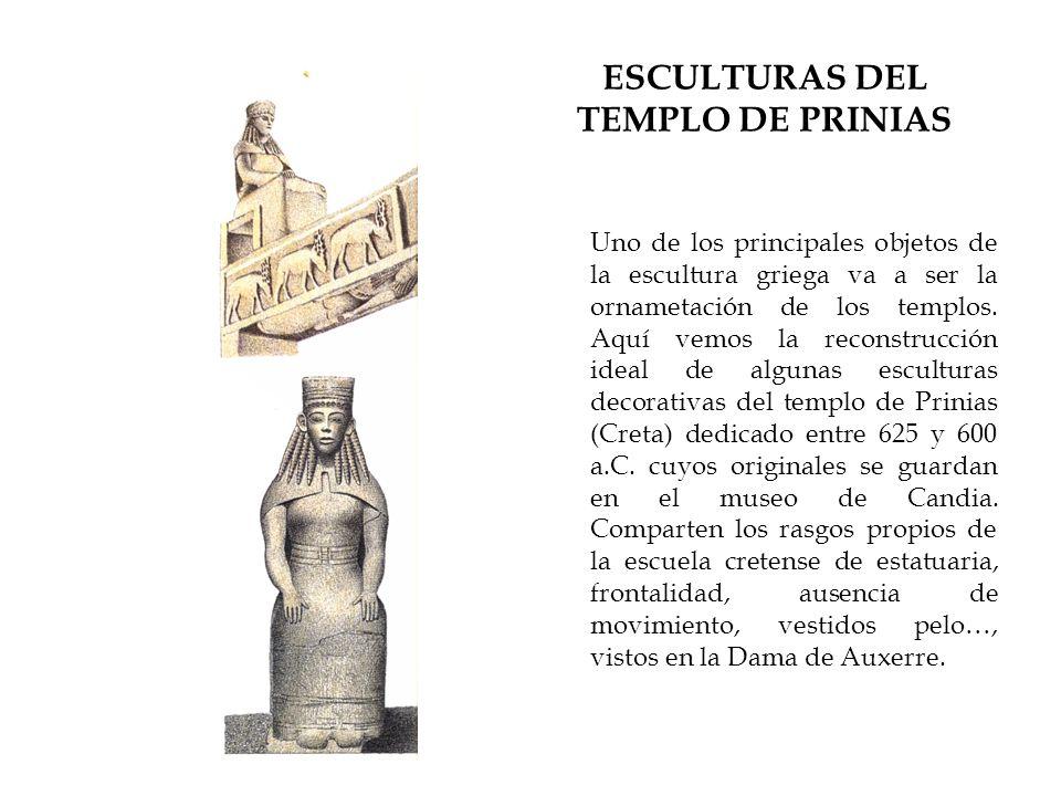 ESCULTURAS DEL TEMPLO DE PRINIAS Uno de los principales objetos de la escultura griega va a ser la ornametación de los templos. Aquí vemos la reconstr